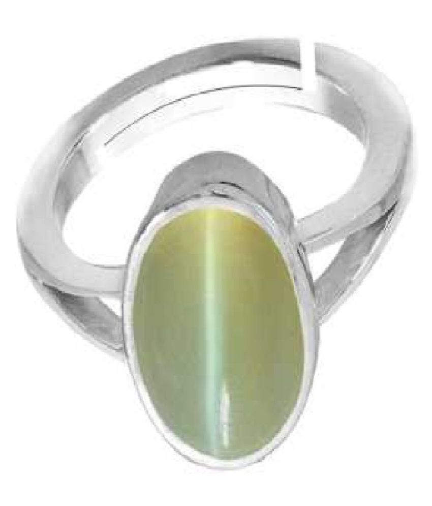 6.5 Carat Lab Certified  Silver Cat's Eye Ring for unisex by Ratan Bazaar