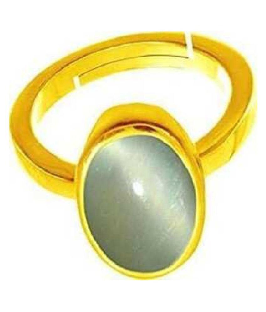 6.5 ratti Stone  Natural Cat's Eye (Lehsuniya) Gold Plated Ring by Ratan Bazaar\n