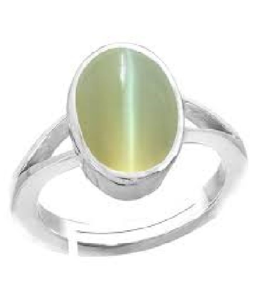 7 ratti Silver Cat's Eye Ring for unisex by Ratan Bazaar\n