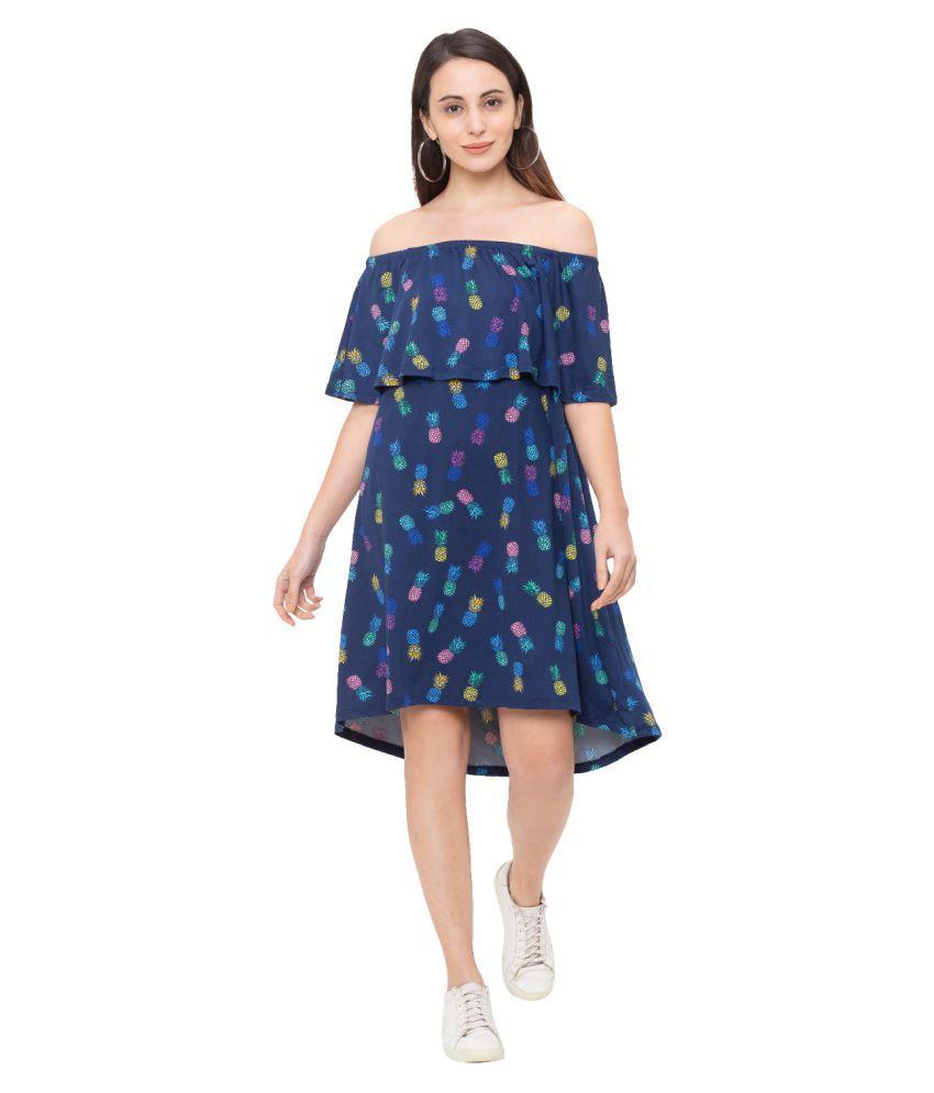 Globus Polyester Navy A- line Dress