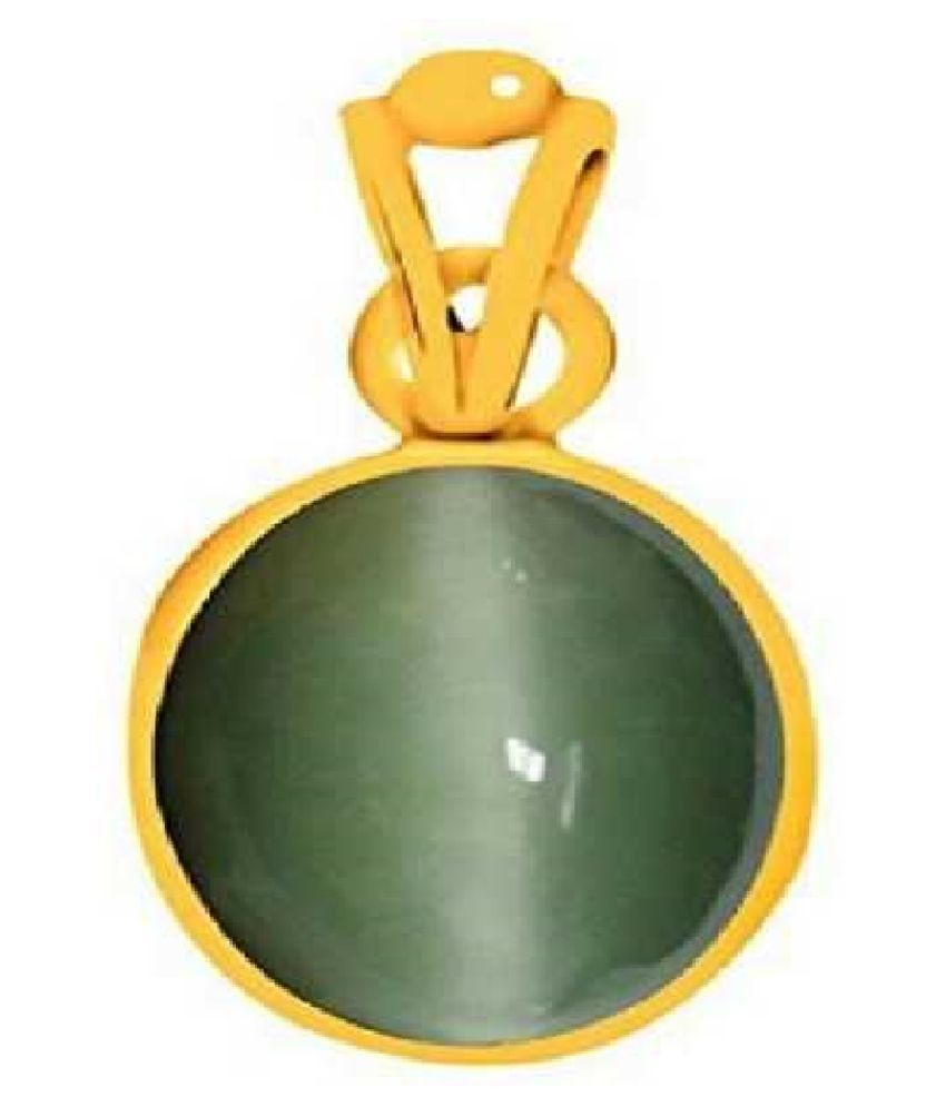 Kundli Gems - Cats eye Stone Pendant Natural 6.5 carat stone Cats Eye stone Certified & Astrological purpose for men & women Gold-plated Cat's Eye Stone Pendant