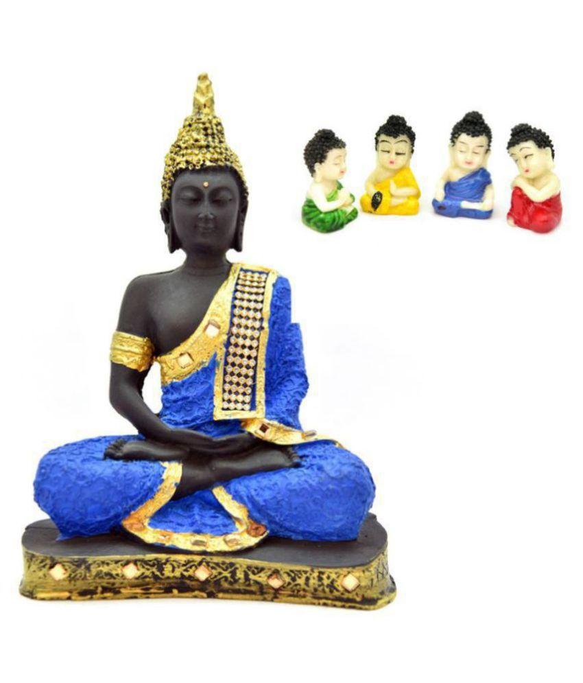 Mukka Enterprises showpiece buddha (24x18cm)buy 1 buddha get free 4 little buddh meditating buddha Resin Buddha Idol 24 x 18 cms Pack of 1