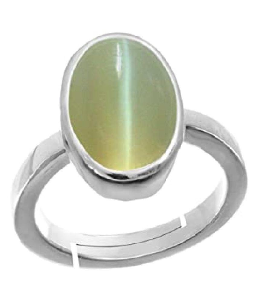 Ring 7 ratti Natural Cat's Eye  Silver Ring by Ratan Bazaar
