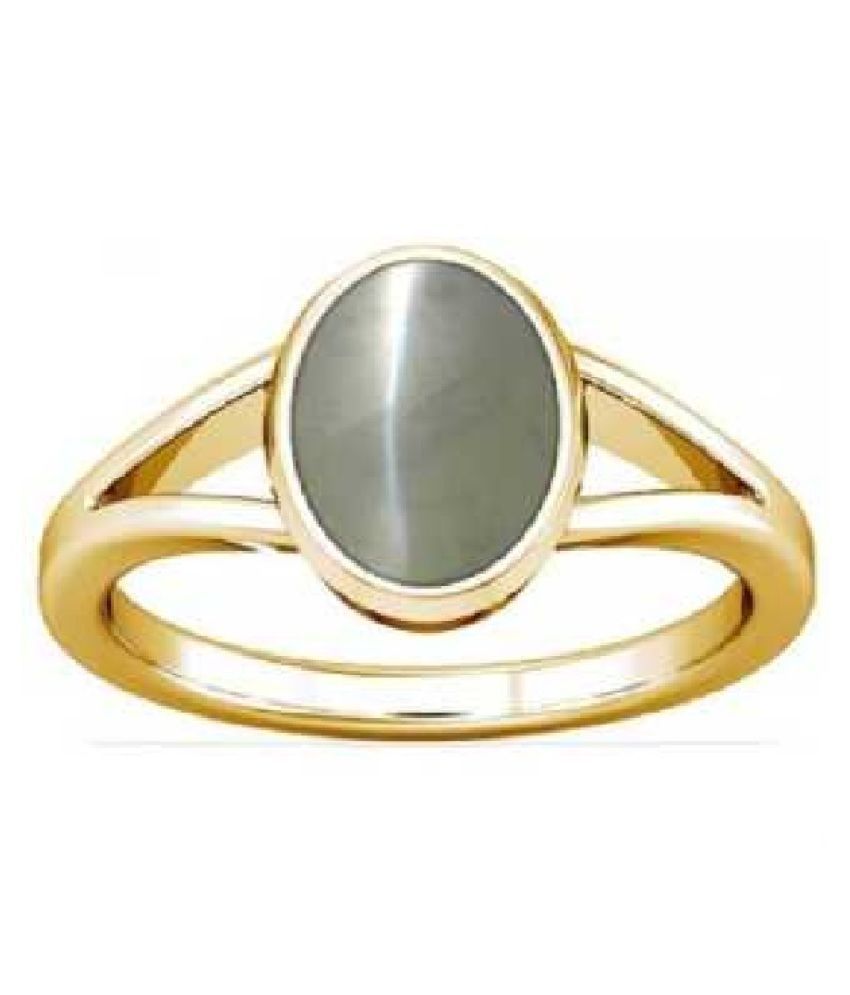 5.5 ratti stone pure Cat's Eye Stone Gold Plated Ring for unisex by  KUNDLI GEMS\n