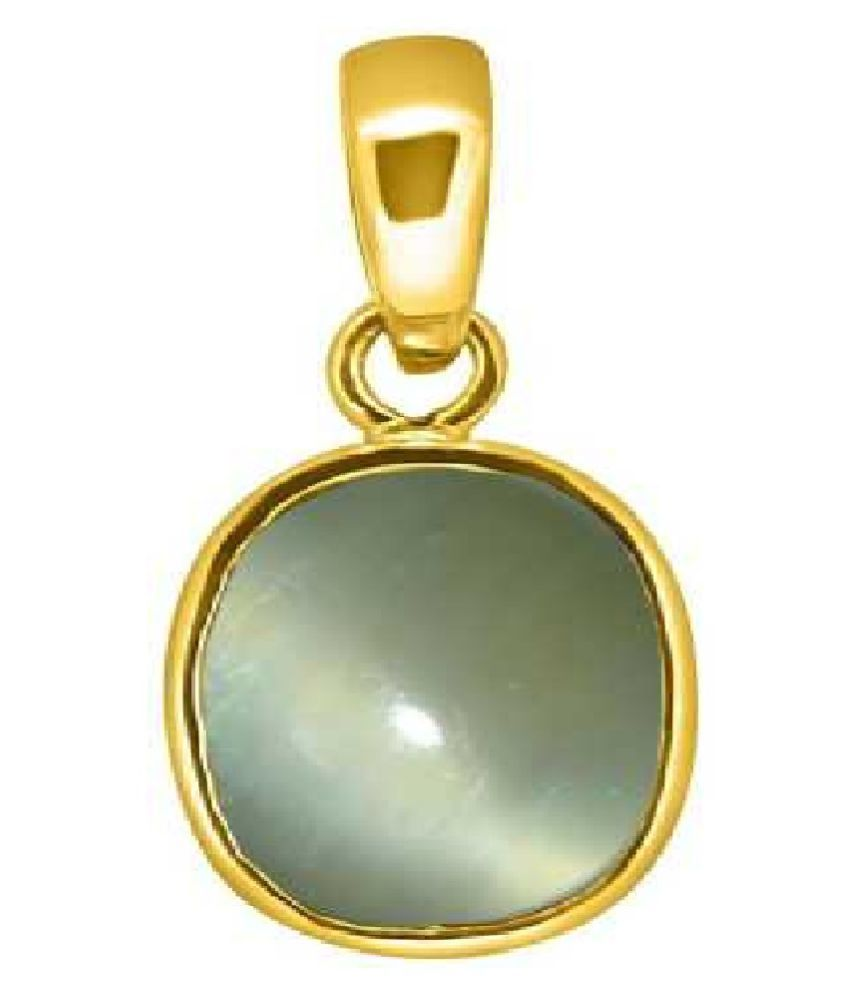 7 carat Cats eye Stone Pendant Natural Cats Eye stone Certified & Astrological purpose for men & women Gold Plated Cat's Eye Stone Pendant by Kundli Gems