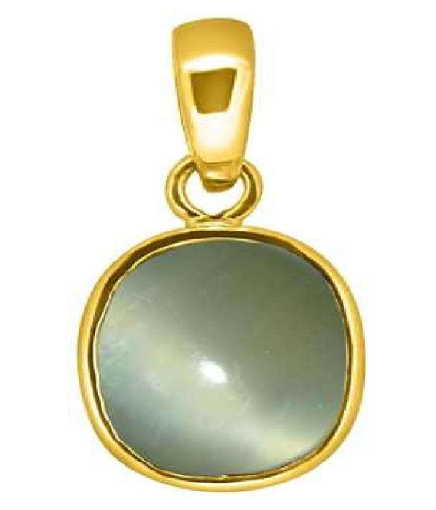 8.5 ratti Cats eye Stone Pendant Natural Cats Eye stone Certified & Astrological purpose for men & women Gold Plated Cat's Eye Stone Pendant by Kundli Gems