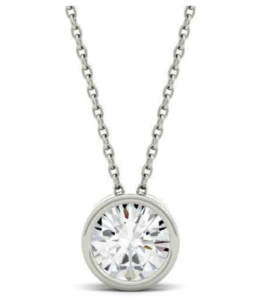 American Diamond  pure Silver Pendant for Unisex by  KUNDLI GEMS\n