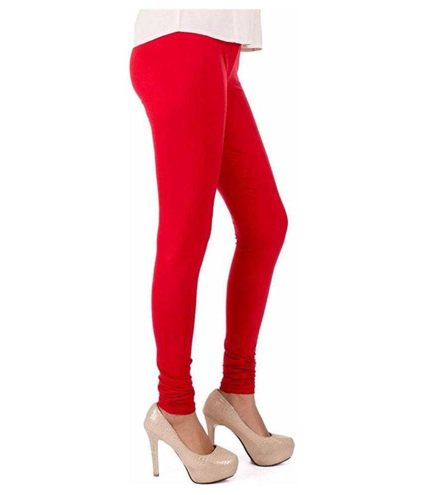 SK Creation Cotton Lycra Jeggings - Red