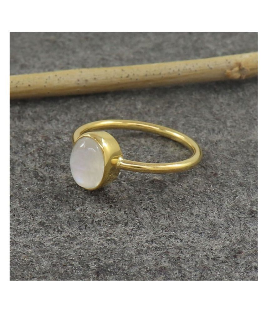 10.5 carat pure  MOONSTONE  Gold Plated Ring by Kundli Gems \n