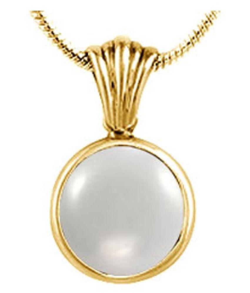 2.25 carat Natural Gold Plated MOONSTONE  Pendant by  Kundli Gems\n