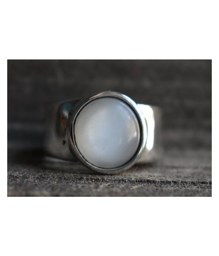 MOONSTONE  Ring 11.5 ratti  Stone Silver   for Men and Women by Kundli Gems