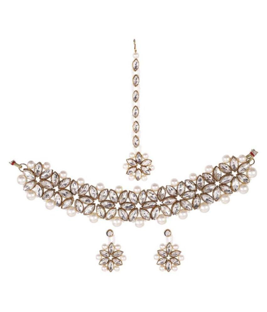 steorra jewels Alloy White Contemporary Traditional Gold Plated Necklaces Set