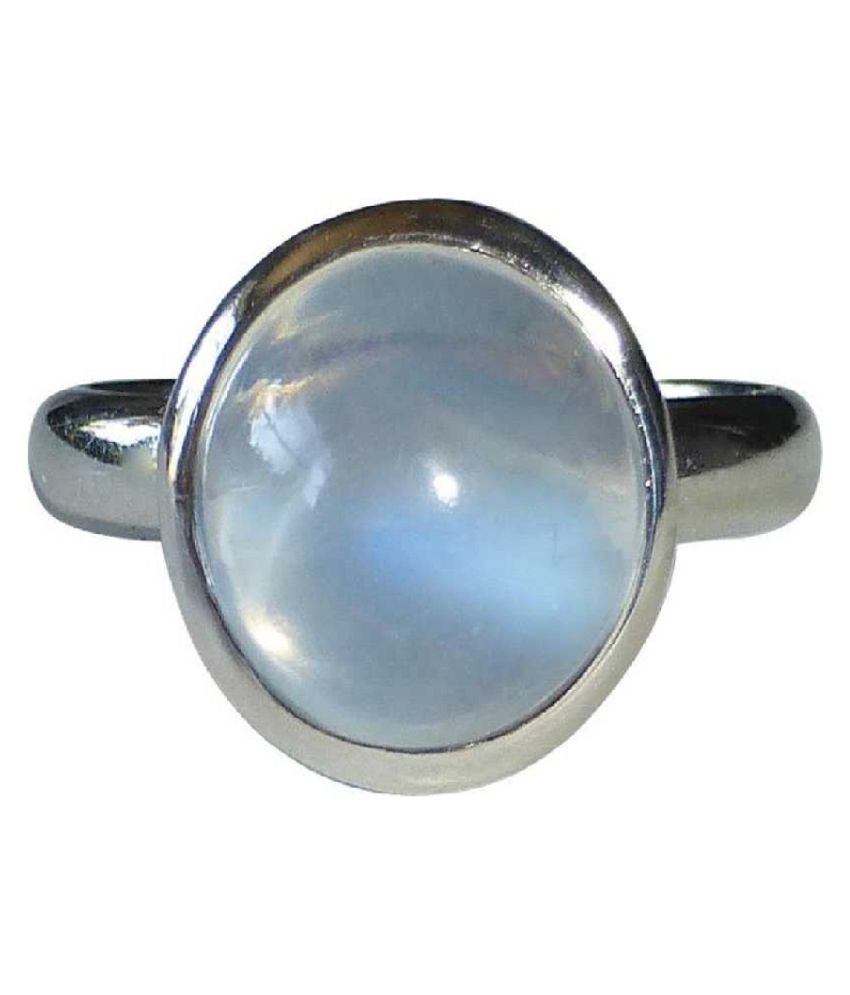 12.25 Carat  MOONSTONE Ring with lab Report Silver MOONSTONE  Stone by Kundli Gems