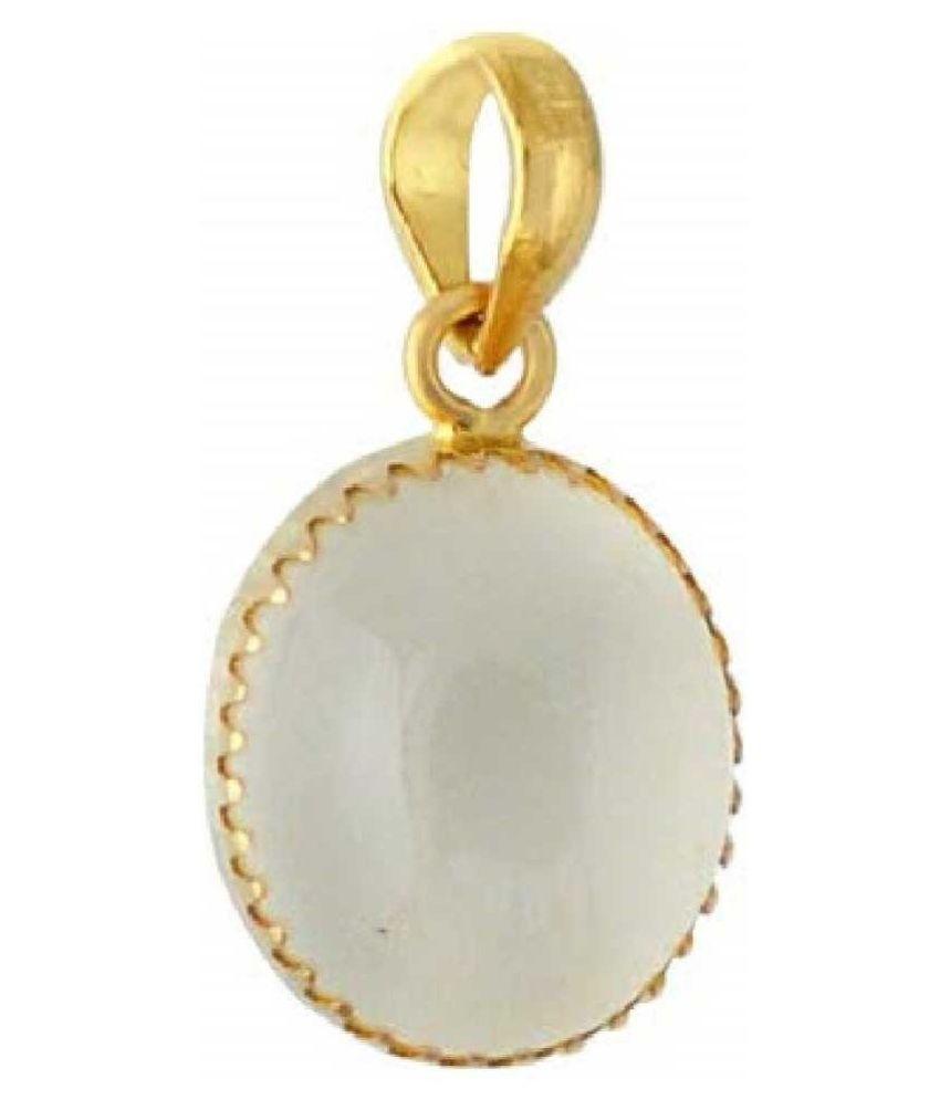 8.25 Carat 100 Original Certified Stone MOONSTONE Gold Plated Pendant By Kundli Gems