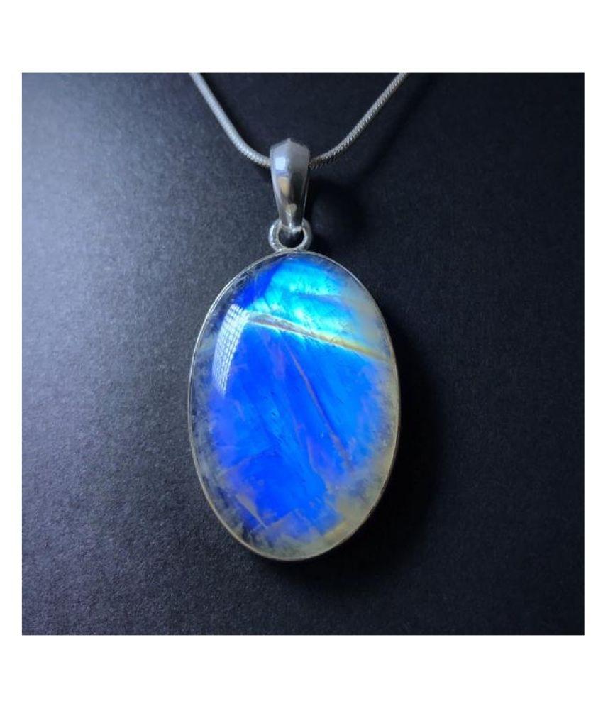 Natural MOONSTONE Stone 9 Ratti Gemstone silver Pendant Original Lab Certified By Kundli Gems