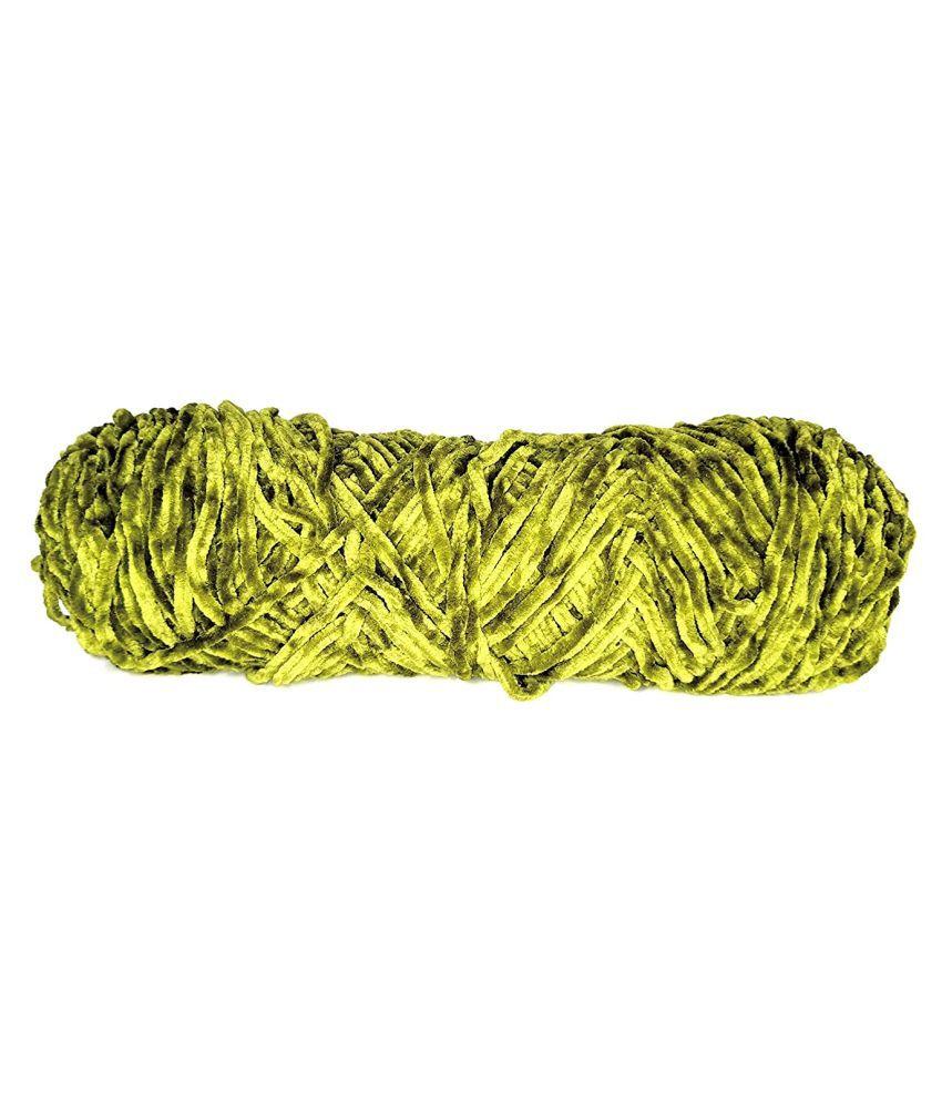 PRANSUNITA Softee Chunky Super Bulky Knitting Yarn for Hand DIY Bag Blanket Cushion Crocheting Projects 100 GMS (Mehndi