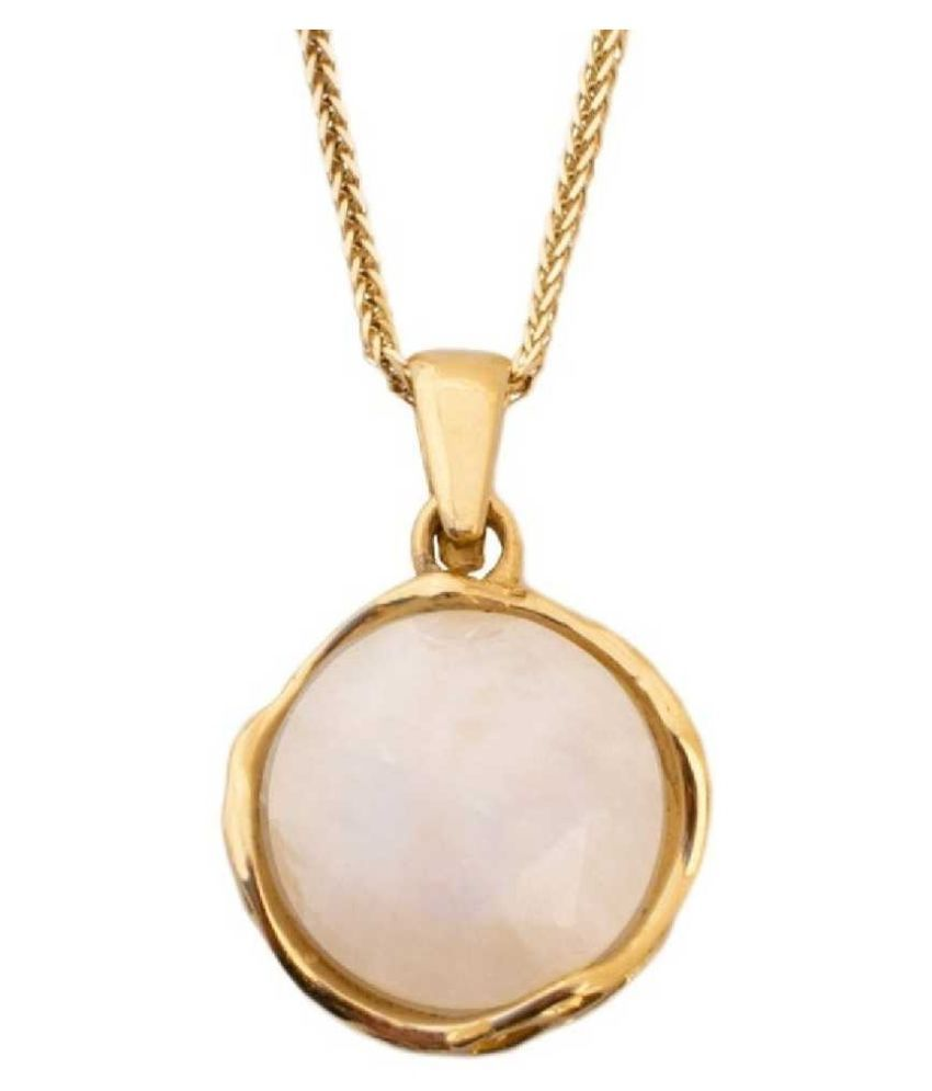 12.25 ratti Natural  MOONSTONE  Stone  panchdhatu Gold Plated Pendant for Astrological MOONSTONE  Pendant