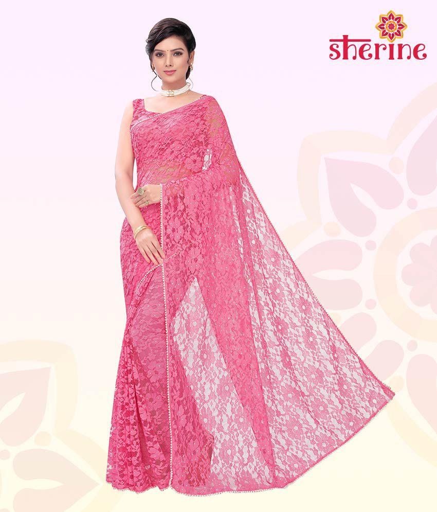 Sherine Pink Fashion Net Saree