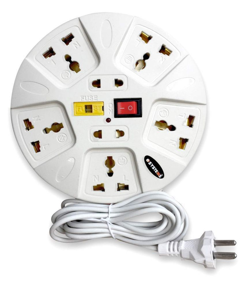 eSYSTEMS Extension Board, 6 Amp Multi Plug Point Strip, Led Indicator  amp; Universal Sockets, Extension Cord  3.6 meter   White
