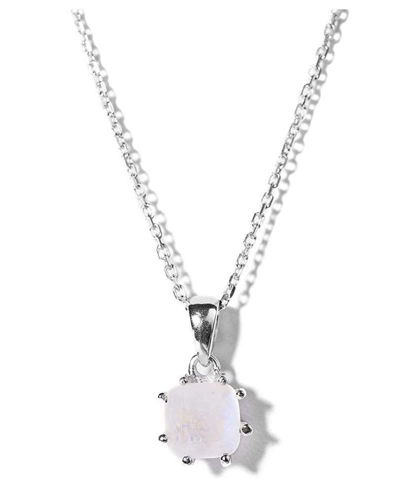 4 Carat  MOONSTONE Pendant with lab Report Silver MOONSTONE  Stone by  Ratan Bazaar