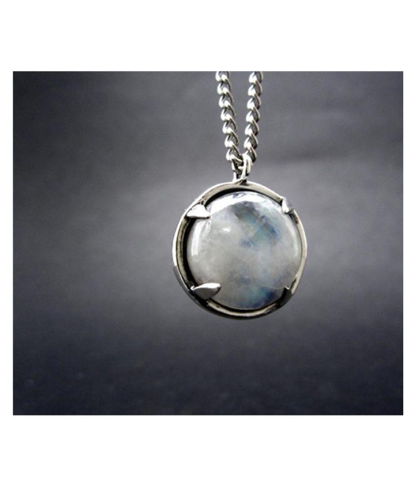 5.25 Ratti Natural Certified MOONSTONE Gemstone Panchdhatu silver Pendant by  Ratan Bazaar