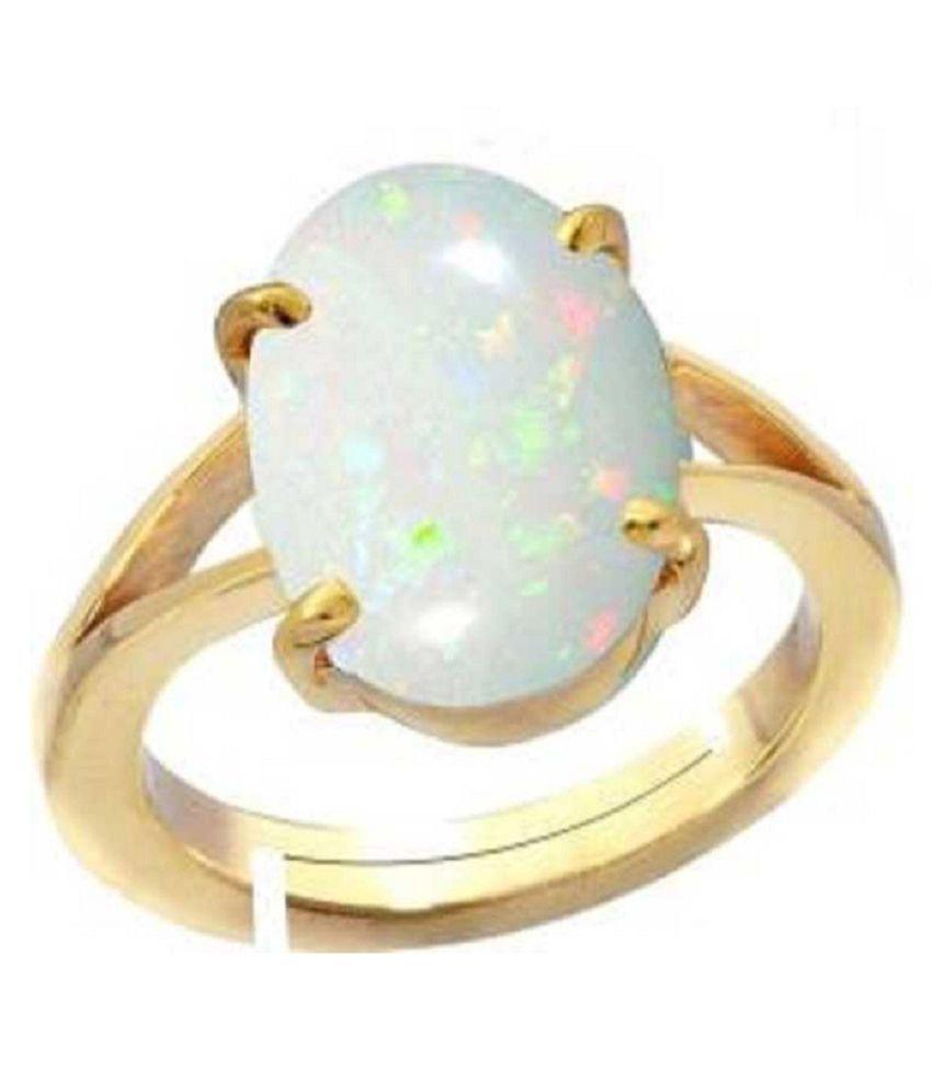 OPAL Panchdhatu ADJUSTABLE 6 Carat  gold plated Ring By Kundli Gems