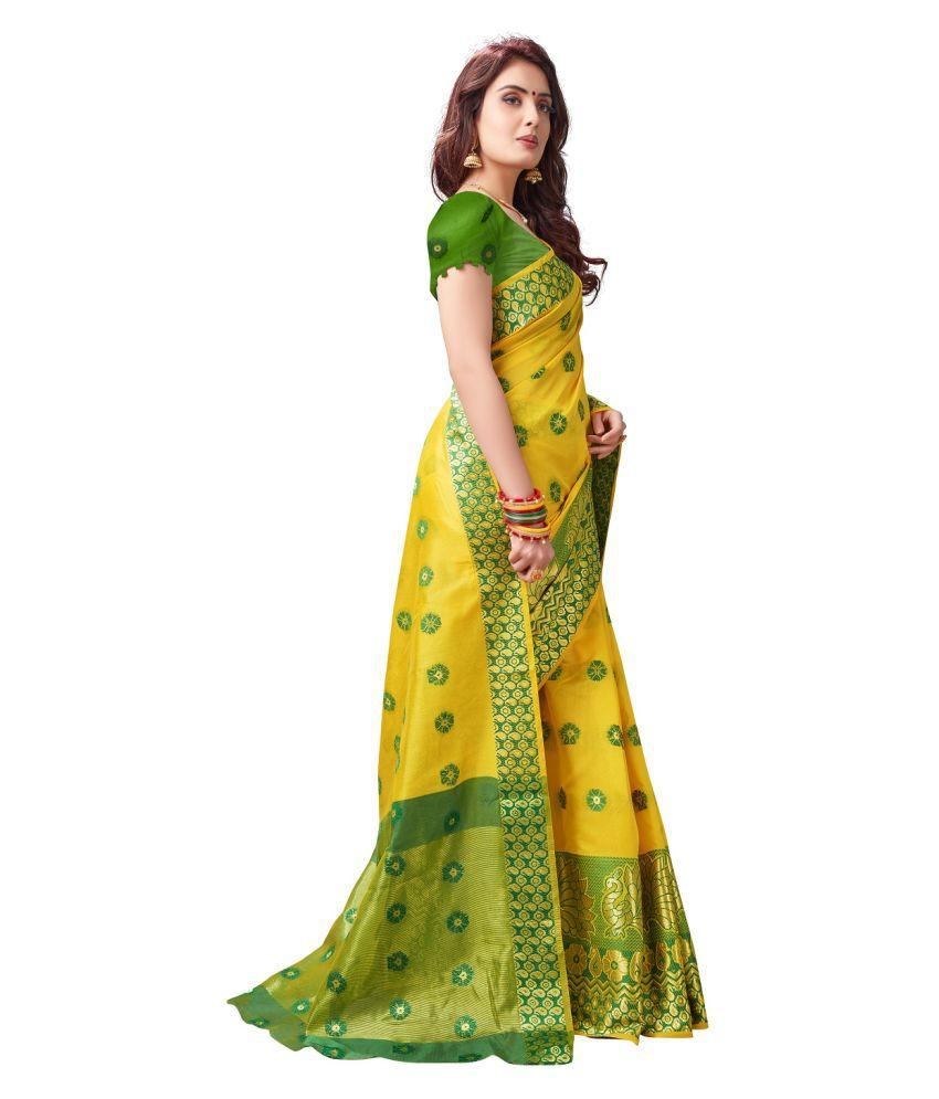 d'WiU Yellow Cotton Silk Saree