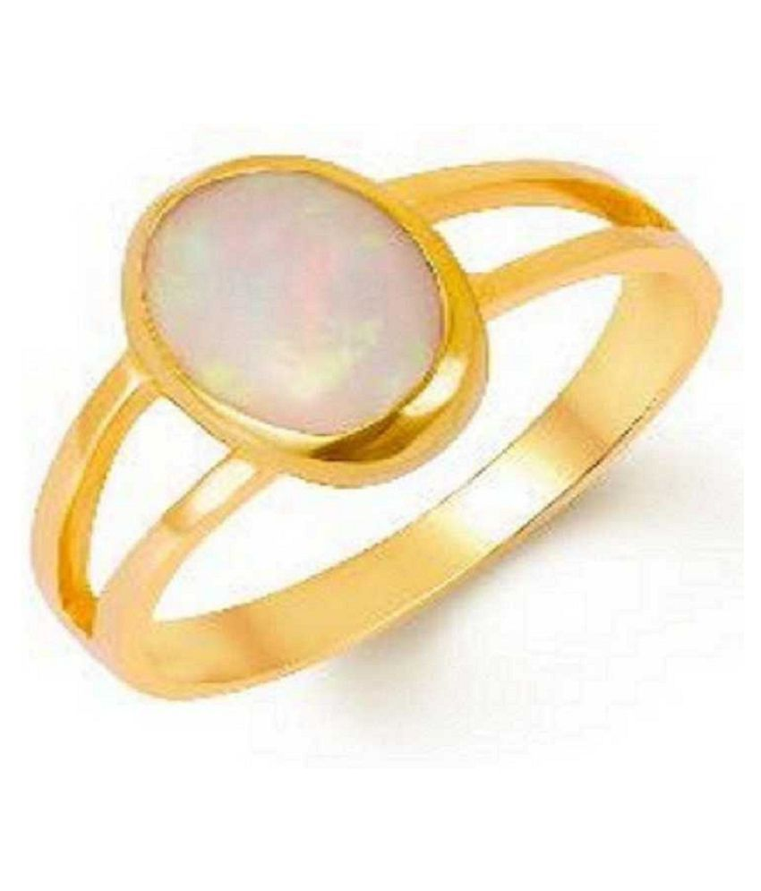 11.25 Carat Natural Stone Gold Plated OPAL  Ring for unisex by Kundli Gems\n