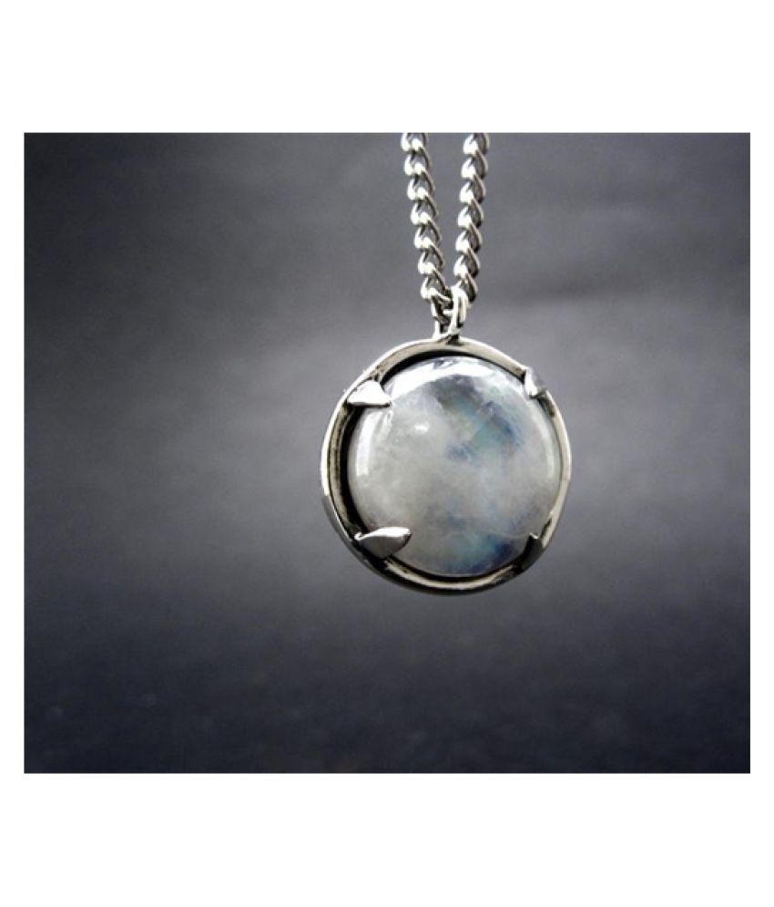 5.5 Ratti Natural Certified MOONSTONE Gemstone Panchdhatu silver Pendant by  Ratan Bazaar