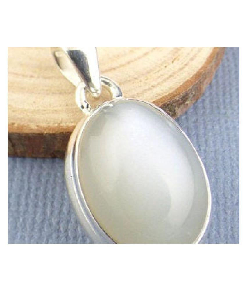 6.5 carat pure MOONSTONE  silver Pendant for women by  Ratan Bazaar \n