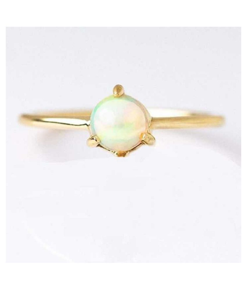 OPAL RIng natural and OPAL Gemstone 10 Carat gold plated Ring by Kundli Gems