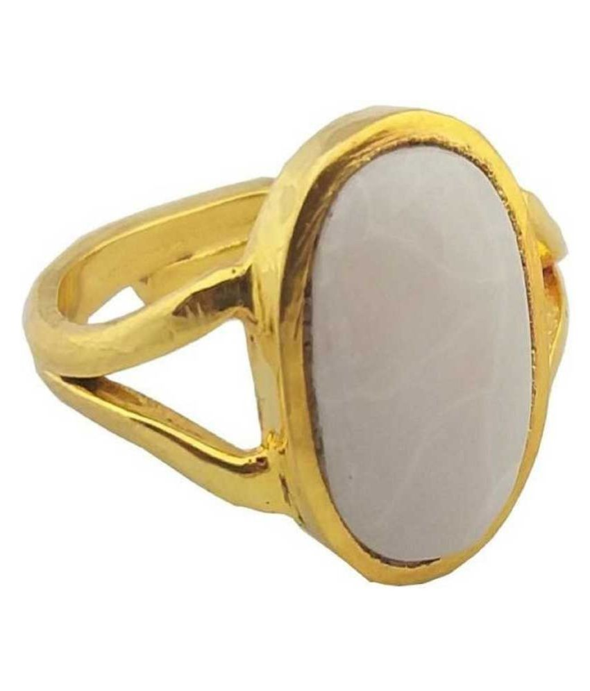 OPAL Ring 12.25 Carat natural Stone gold plated Ring by Kundli Gems