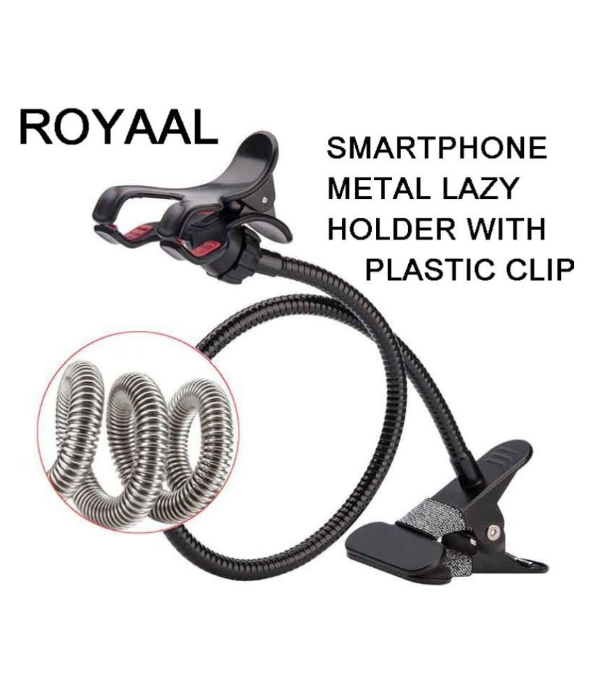 ROYAAL Metal La-zy Stand Bracket Mobile Phone Stand Flexible Metal La-zy Bed Desktop Bracket Mount Stand, WITH CLIP FOR Desk - Table (Color - Black)