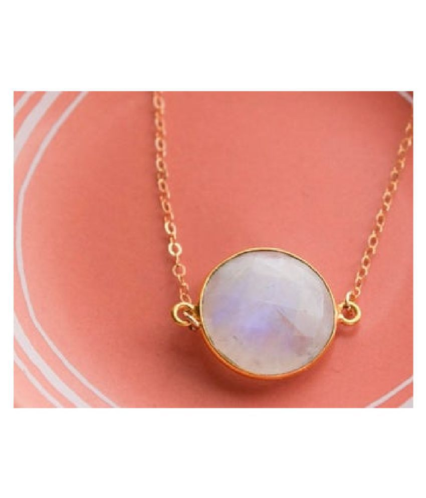 11.5 Ratti MOONSTONE  pure Gold Plated Pendant for Unisex by   Ratan Bazaar\n