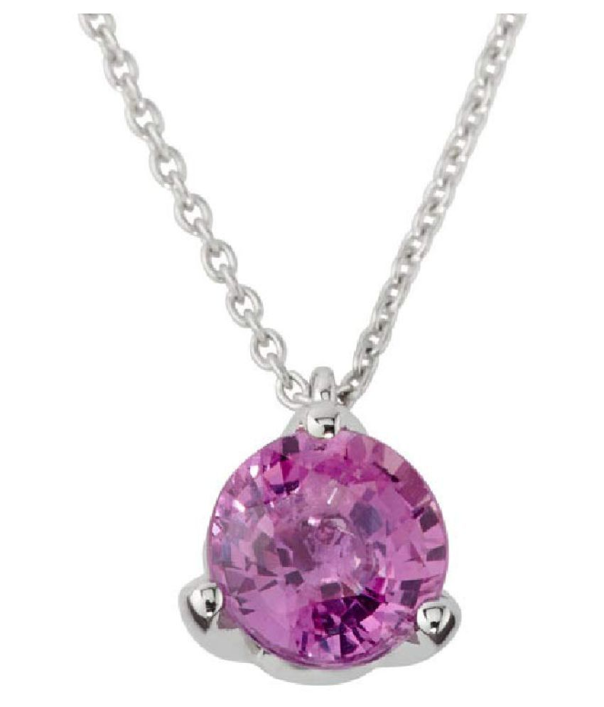2 carat only Pink Sapphire  Pendant with Natural & Lab Certified Silver Pink Sapphire  by Kundli Gems