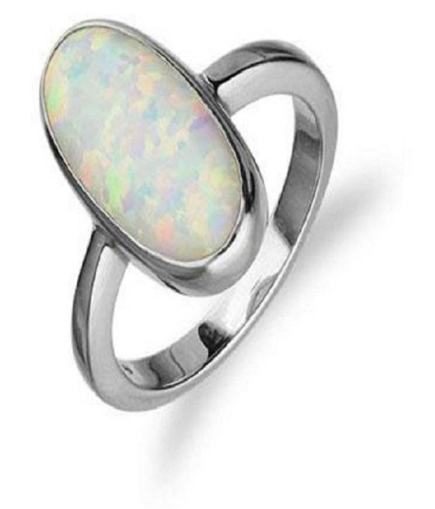 5 ratti Natural Lab certified Stone silver OPAL  Ring by Ratan Bazaar\n