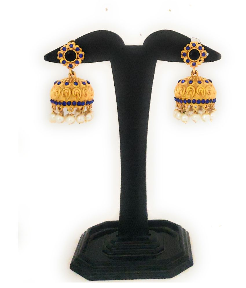 Antique gold plated mate finish blue stones & pearl jhumkhi earrings.