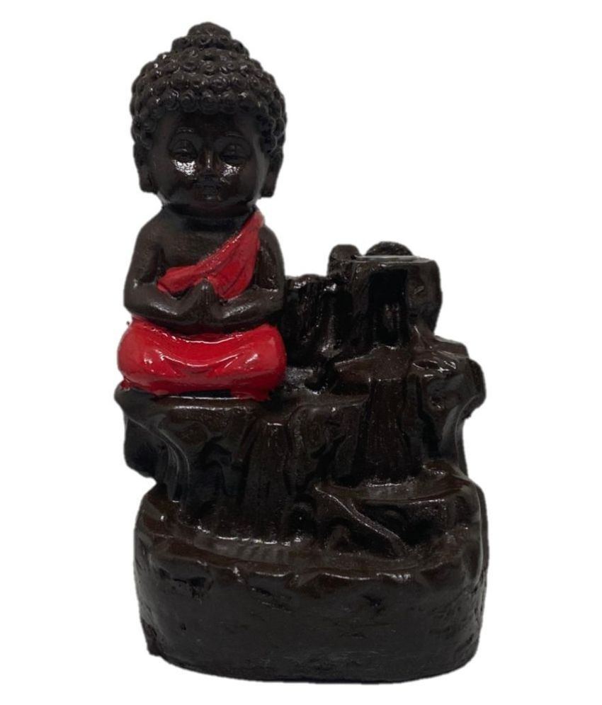 Bell's Craft Red Porcelain Monk Buddha Smoke Backflow - Pack of 1