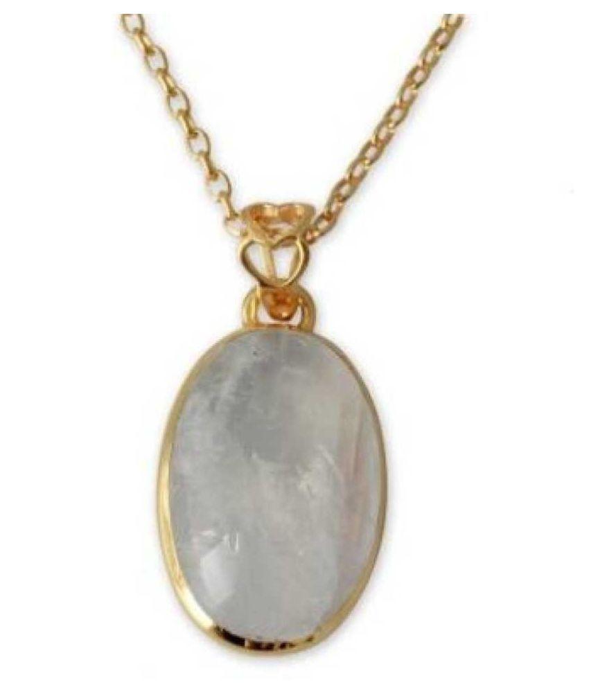 Original MOONSTONE Stone Lab Certified Stone 11.5 Ratti Gold Plated Pendant by  Ratan Bazaar
