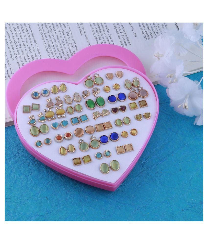 SILVER SHINE Stud Earring Delicate look Stud Earring Set of 36  for Women girl