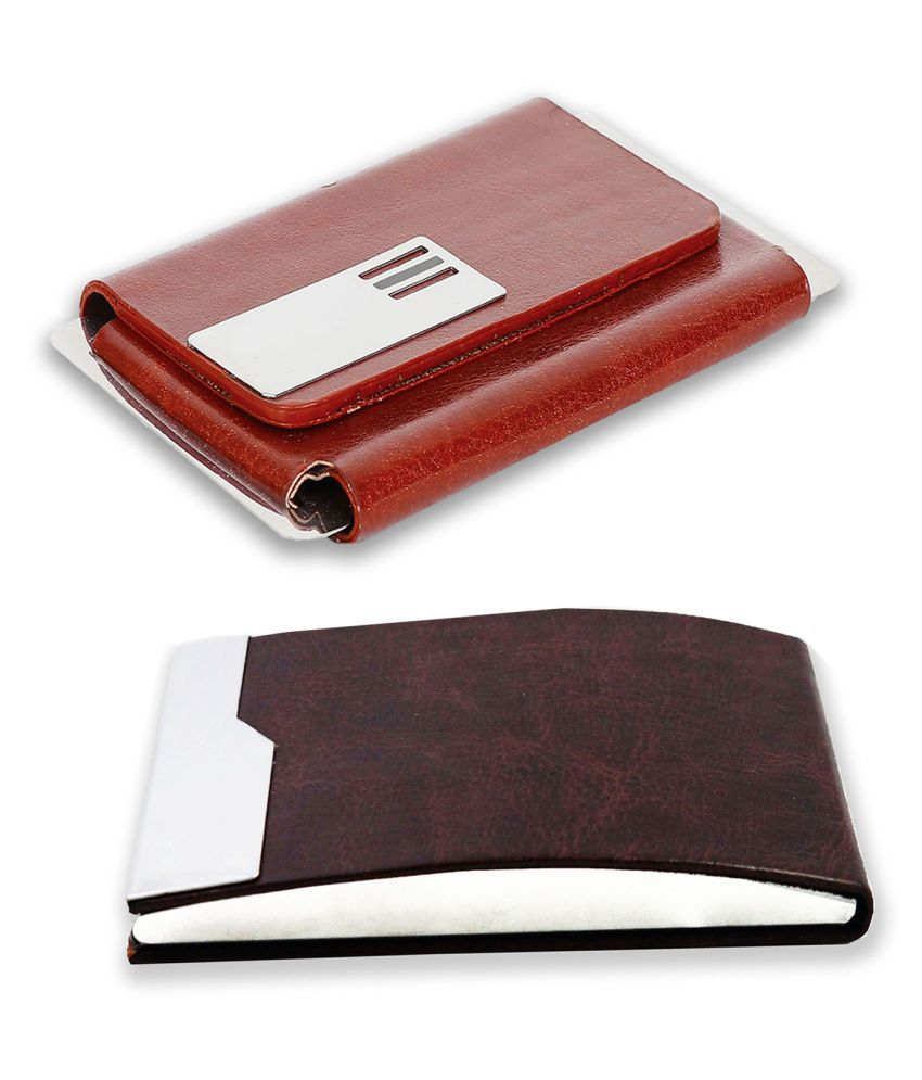 auteur A14-60  Multicolor Artificial Leather Professional Looking Visiting Card Holders for Men and Women Set of 2 (upto 15 Cards Capacity)