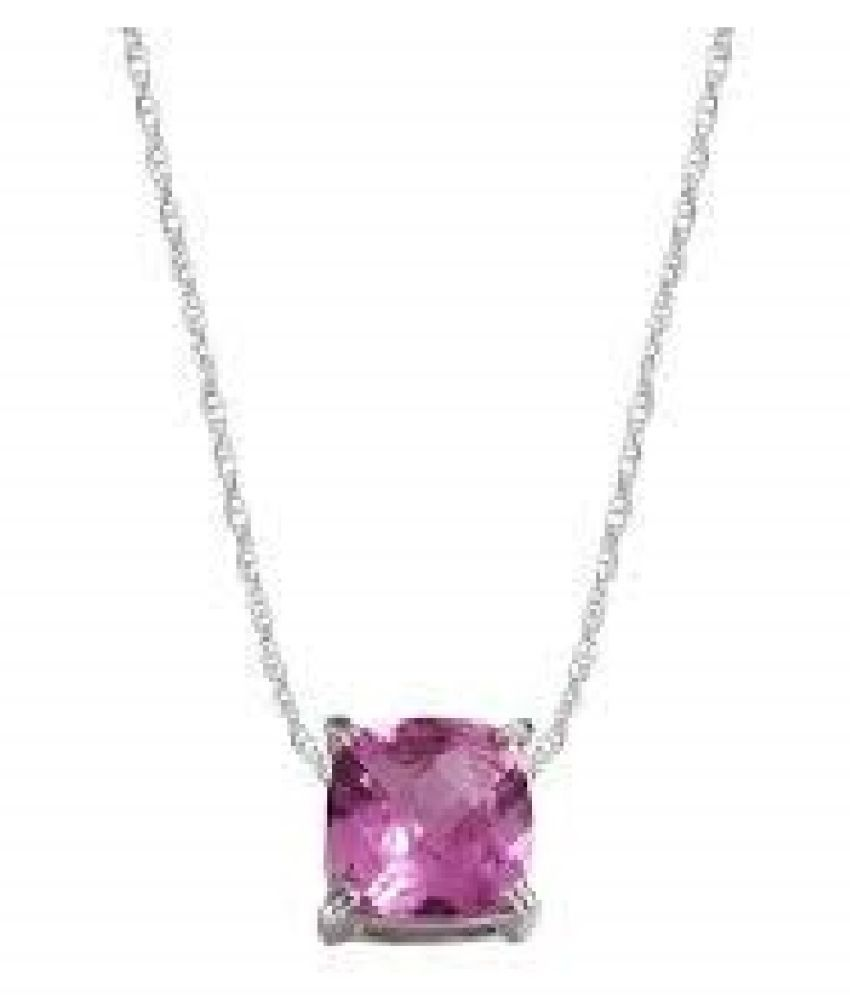 4.25 Ratti Pink Sapphire  pure Silver Pendant for Unisex by  Kundli Gems\n