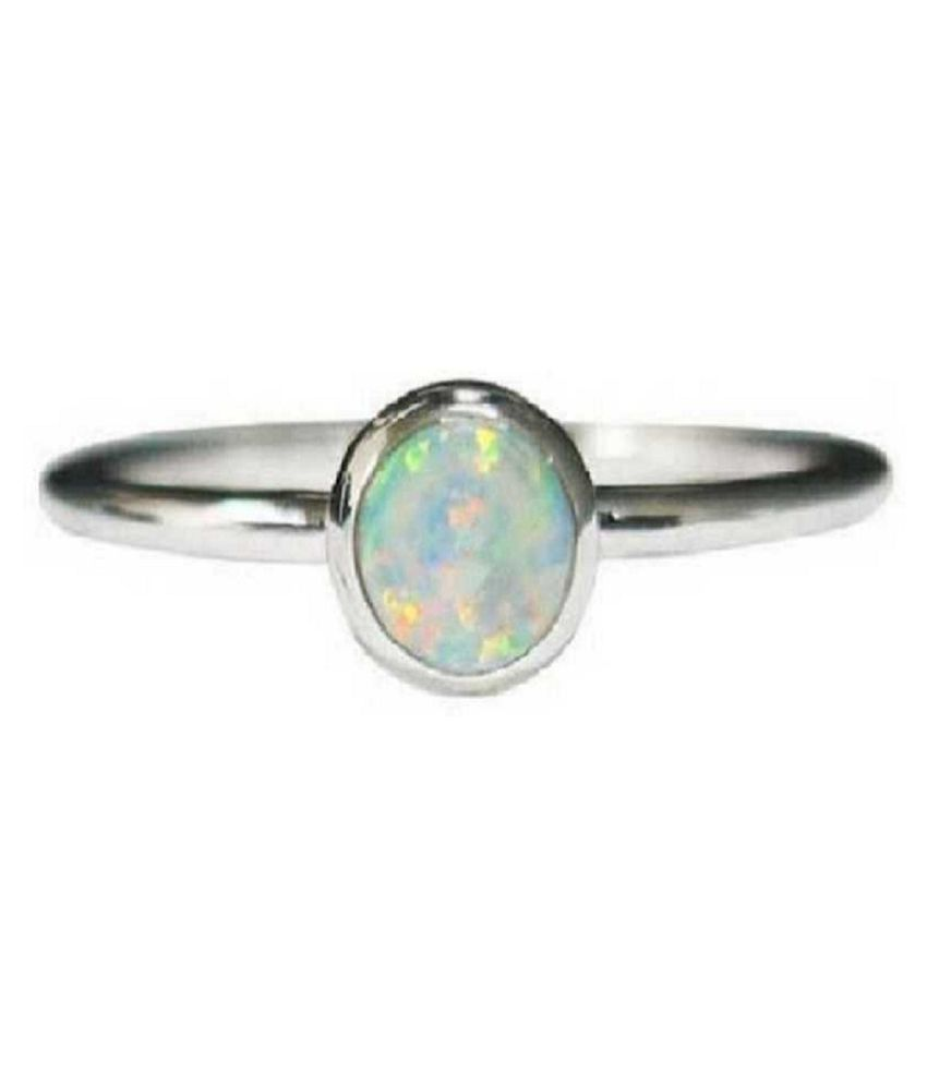 7 ratti stone pure OPAL  silver Ring for unisex by Ratan Bazaar\n