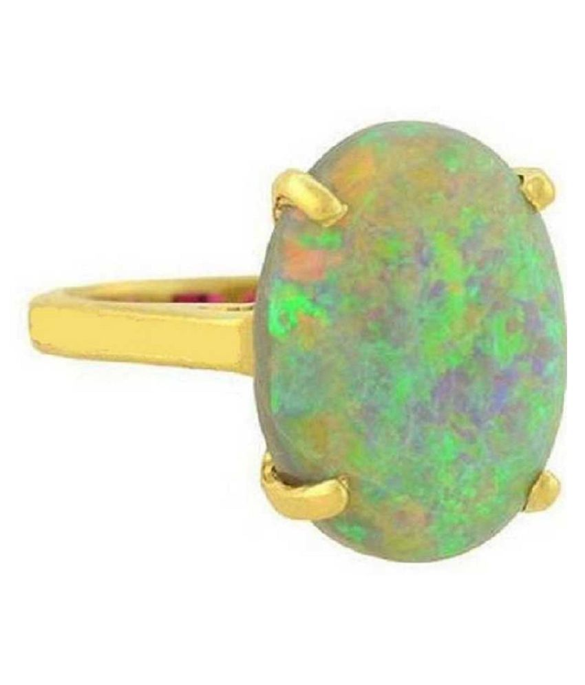 OPAL Natural & Unheated Stone  7.25 Ratti OPAL gold plated Ring by Ratan Bazaar
