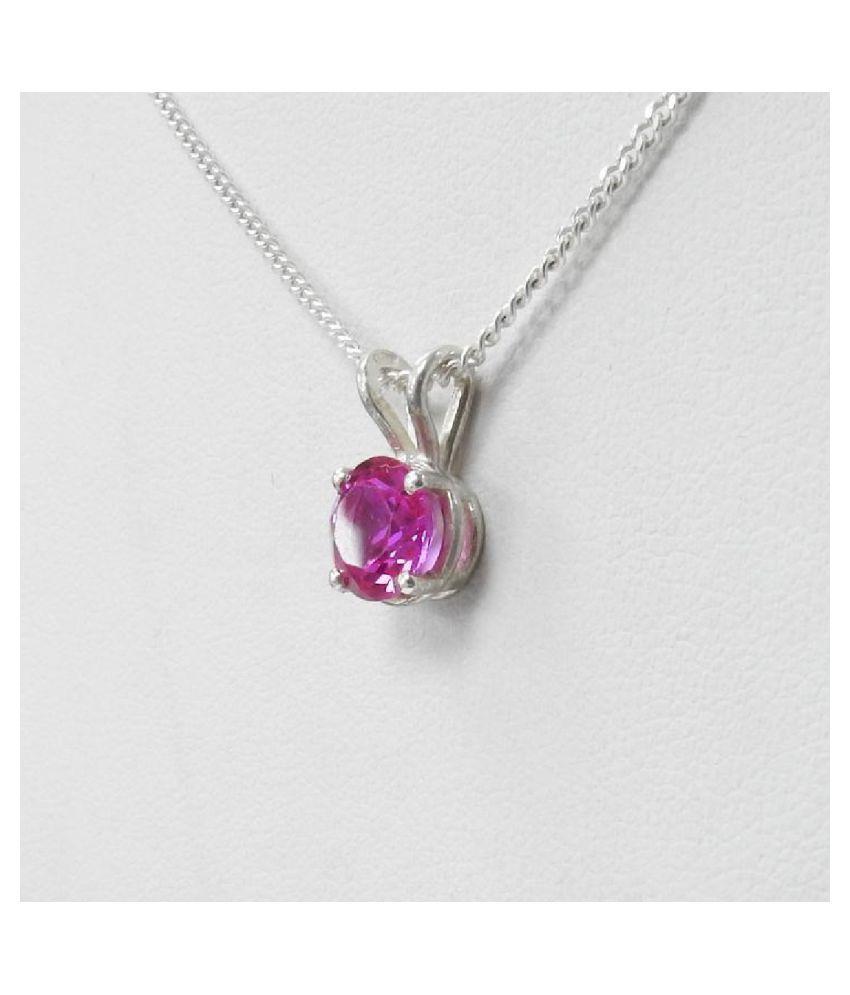 Unheated & Untreated Pink Sapphire  silver Pendant 100% Original & Certified Stone by Kundli Gems