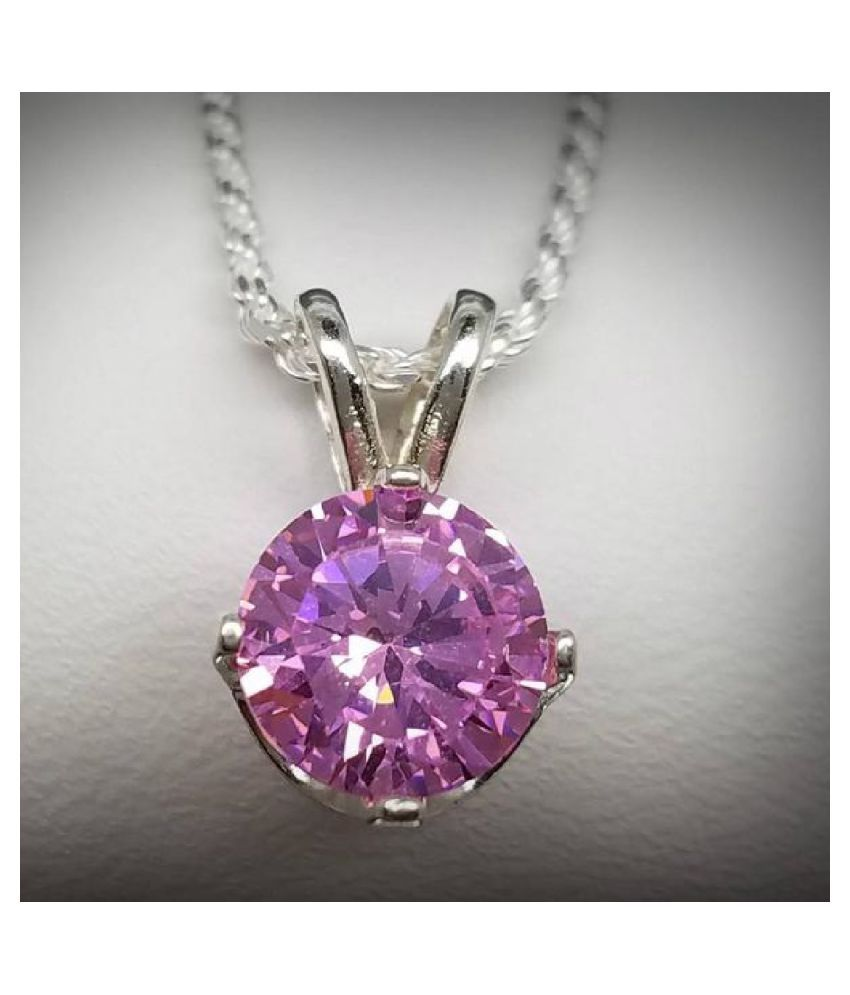 silver Pink Sapphire  Pendant 6.25 ratti by Kundli Gems