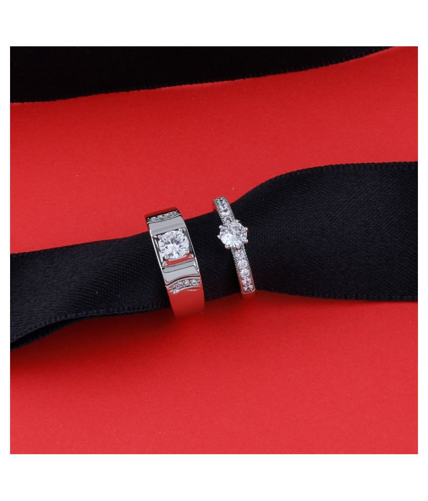 Adjustable Couple Rings Set for lovers Silver Plated Solitaire for Men and Women