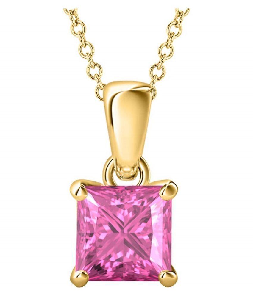 12.25 Carat 12.250 % Original Certified Stone Pink Sapphire gold plated Pendant By Kundli Gems