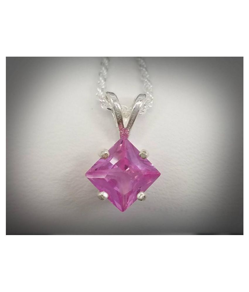 12 ratti  Pendant Natural Pink Sapphire  silver Pendant by Kundli Gems for unisex