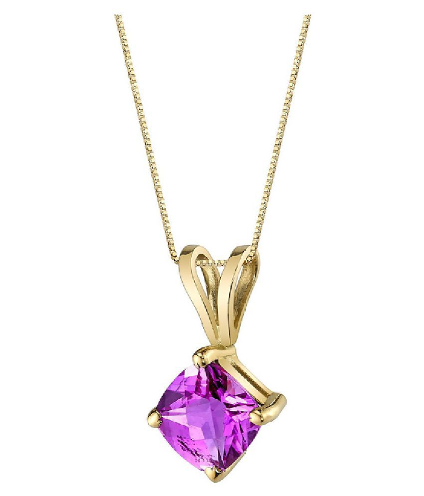 Natural Pink Sapphire Stone Lab Certified Gold Plated 9.5 Carat  Pendant BY Kundli Gems